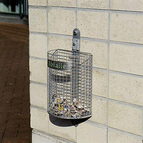 Abfallkorb WALES, zur Wandbefestigung, feuerverzinkt