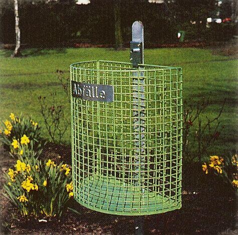 Abfallkorb WALES, zum Einbetonieren, in RAL 6010 grasgrün