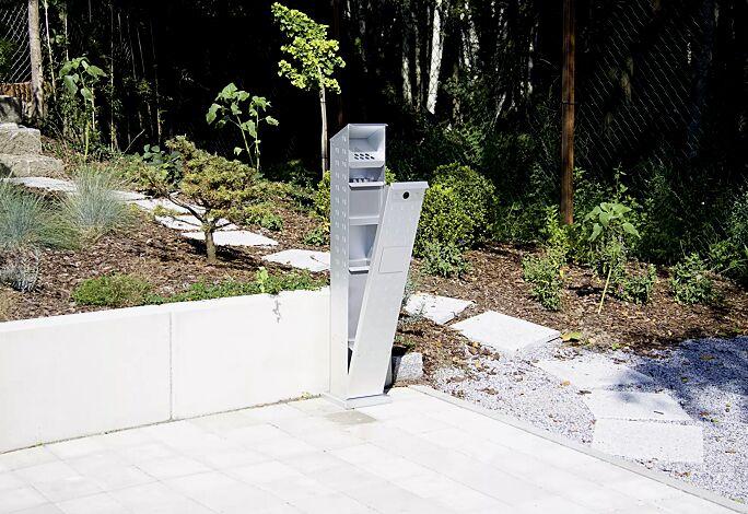 Abfallbehälter WINDSOR aus Aluminium, eloxiert