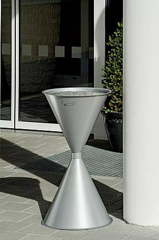Standascher ROYAL aus Stahl, in weißaluminium ähnlich RAL 9006