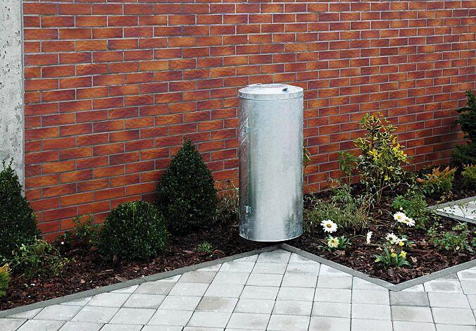 Abfallbehälter SOMERSET, feuerverzinkt, mit Pfosten zum Einbetonieren (Zubehör)