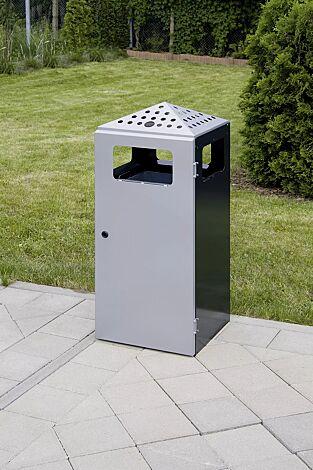 Abfallbehälter LUTON mit Ascher, aus Stahlblech, Korpus in schwarzgrau ähnlich RAL 7021, Tür und Oberteil in weißaluminium ähnlich RAL 9006
