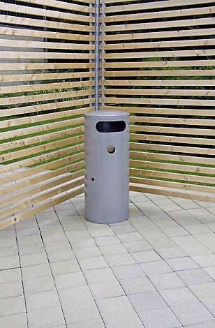 Abfallbehälter AMOS mit Ascher, 70 Liter, in weißaluminium ähnlich RAL 9006