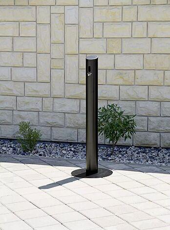 Standascher SMOKER aus Aluminium, mit Fußplatte, in RAL 9011 graphitschwarz
