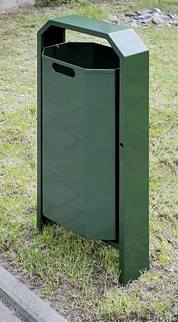 Abfallbehälter DEVON, in RAL 6020 chromoxidgrün (Mehrpreis)
