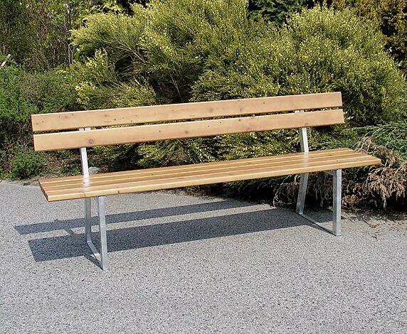 Sitzbank TURIN mit Rückenlehne, mit Fichtenholzbelattung