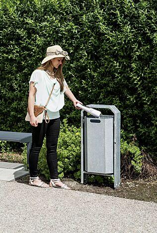Abfallbehälter DEVON, zum Einbetonieren, feuerverzinkt