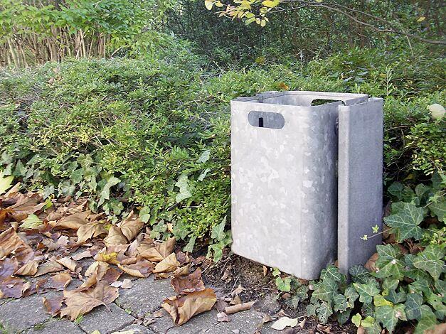 Abfallbehälter CORNER, zum Einbetonieren, feuerverzinkt