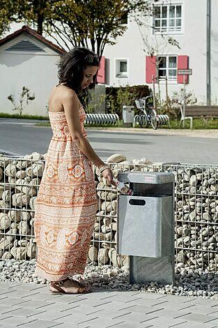 Abfallbehälter HALIFAX, 35 Liter, ohne Ascher, zum Einbetonieren, feuerverzinkt