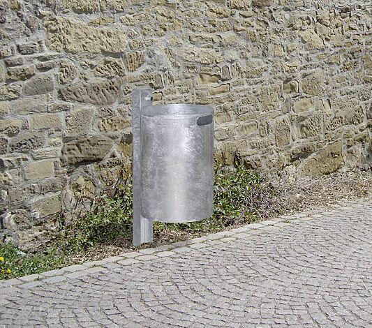 Abfallbehälter KINGSTON, Vollblech, ohne Schutzdach, feuerverzinkt
