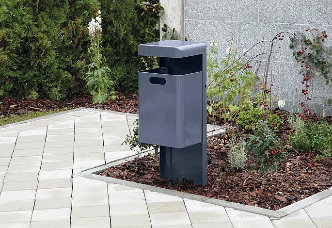 Abfallbehälter HALIFAX, 35 Liter, ohne Ascher, zum Einbetonieren, in RAL 7024 graphitgrau
