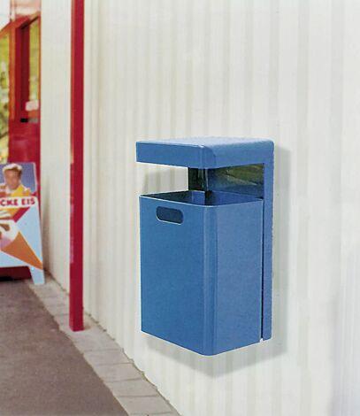 Abfallbehälter HALIFAX, 43 Liter, ohne Ascher, zur Wandbefestigung, in RAL 5005 signalblau