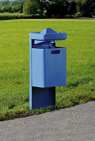 Abfallbehälter OXFORD mit Ascher, zum Einbetonieren, in RAL 5005 signalblau