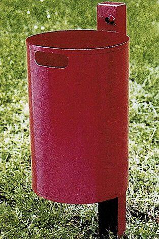 Abfallbehälter KINGSTON, Vollblech, ohne Schutzdach, in RAL 3002 karminrot