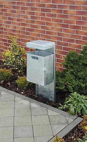 Abfallbehälter HALIFAX, 35 Liter, mit Ascher, zum Einbetonieren, feuerverzinkt