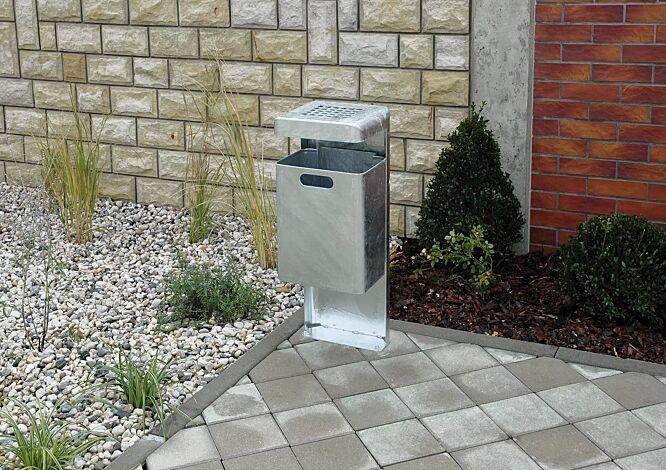 Abfallbehälter HALIFAX, 43 Liter, mit Ascher, zum Aufdübeln, feuerverzinkt