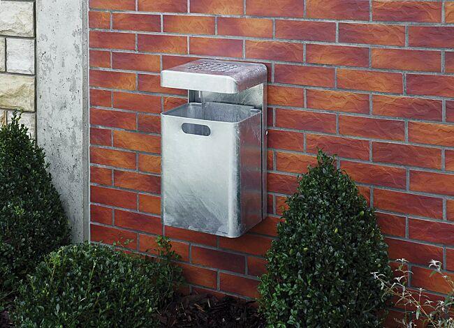 Abfallbehälter HALIFAX, 35 Liter, mit Ascher, zur Wandbefestigung, feuerverzinkt