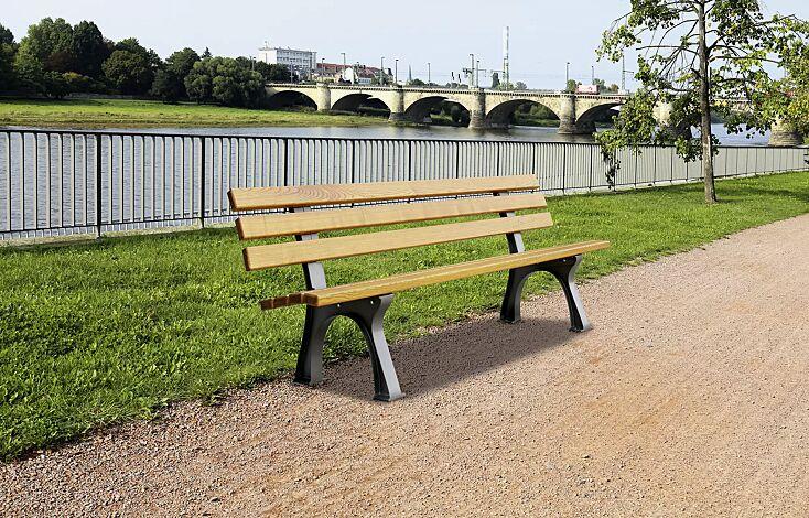 Kombinationsvorschlag: Bank-Tisch-Kombination VENEDIG mit Escheholzbelattung, bestehend aus einem Tisch und Sitzbank ohne und mit Rückenlehne