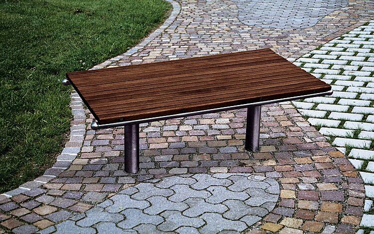 Sitzbank LOANO mit Kambalaholzbelattung, Stahlteile aus Edelstahl