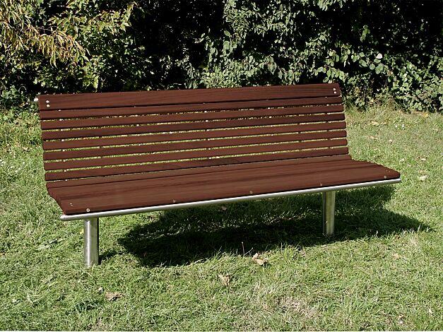 Sitzbank MERANO mit Rückenlehne, mit Kambalaholzbelattung