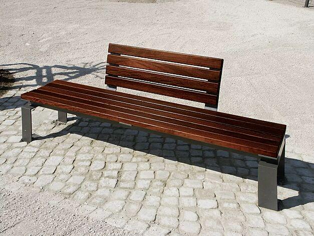 Sitzbank MAGIC mit 1 Rückenlehne (990 mm lang) mittig, Stahlteile in DB 703 eisenglimmer