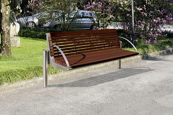 Sitzbank WIEN mit Rückenlehne und Armlehnen, Breite 2090 mm