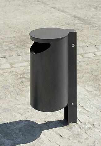 Abfallbehälter BURLINGTON aus Edelstahl, pulverbeschichtet in DB 703 eisenglimmer, ohne Ascher