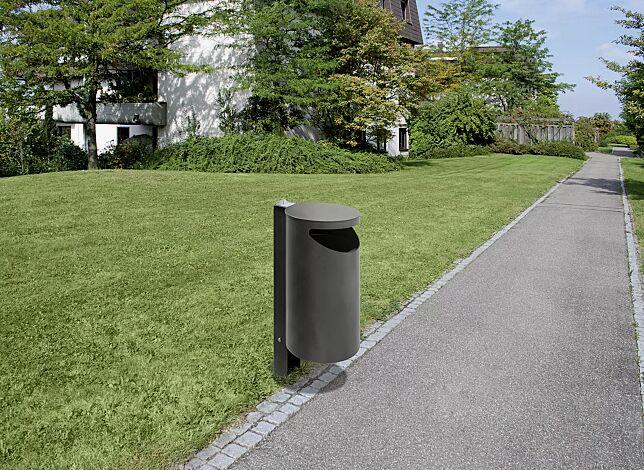 Abfallbehälter BURLINGTON aus Edelstahl, pulverbeschichtet in DB 703 eisenglimmer, mit Ascher