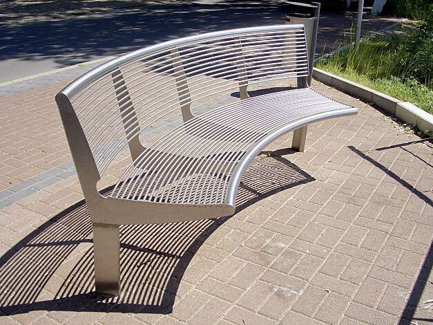 Sitzbank CARPI mit Rückenlehne, gebogen, Bankform Innenradius