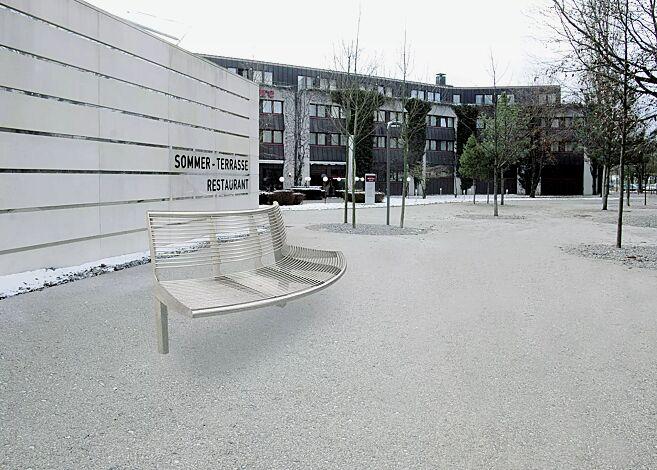 Sitzbank CARPI mit Rückenlehne, gebogen, Bankform Außenradius