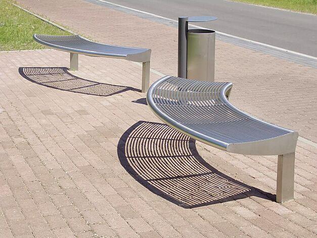Sitzbank CARPI ohne Rückenlehne, gebogen, Bankform Außenradius