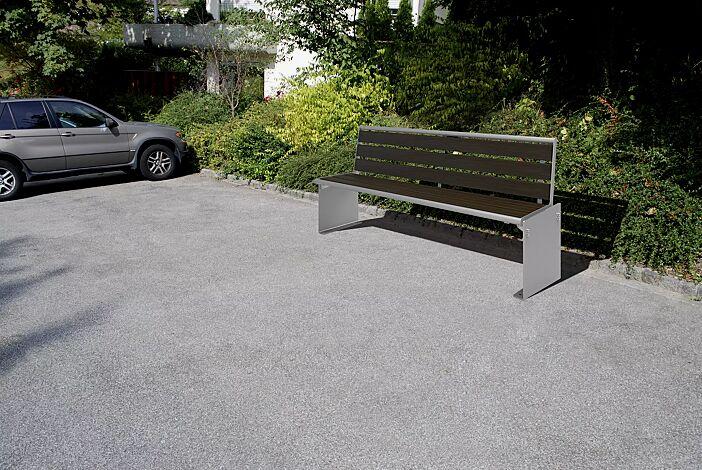 Sitzbank TORINO mit Rückenlehne, mit Pagholzbelattung, Stahlteile in RAL 9006 weißaluminium