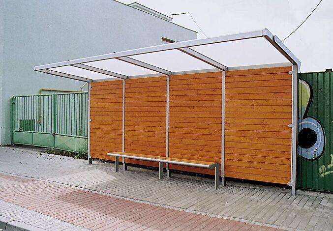 Wartehalle AUREO, Dachbreite 5580 mm, ohne Seitenwände, Stahlkonstruktion in RAL 9007 graualuminium