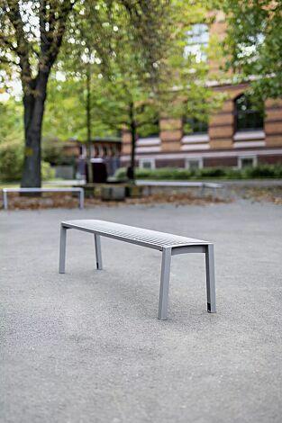 Sitzbank VERA ohne Rückenlehne, in RAL 9007 graualuminium