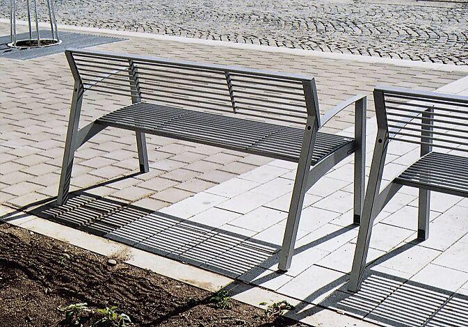 Sitzbank VERA mit Rückenlehne und Armlehnen, in RAL 9007 graualuminium