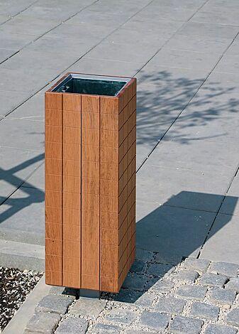 Abfallbehälter NANUK, quadratisch, Korpus: Jatobaholzbelattung, Stahlteile in RAL 9006 weißaluminium