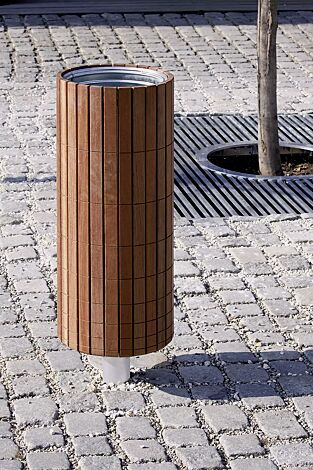 Abfallbehälter NANUK, rund, Korpus: Jatobaholzbelattung, Stahlteile in RAL 9006 weißaluminium<br>