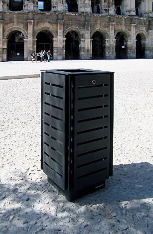 Abfallbehälter DIAGONAL, quadratisch, Korpus: gestanztes Stahlblech, in RAL 7016 anthrazitgrau