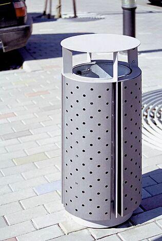 Abfallbehälter DIAGONAL, rund, mit Schutzdach, Korpus: perforiertes Stahlblech, in RAL 9006 weißaluminium und RAL 9007 graualuminium (zweifarbig auf Anfrage)