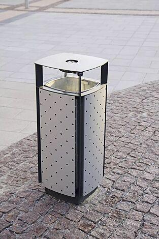 Abfallbehälter DIAGONAL, quadratisch abgerundet, mit Schutzdach und Ascher, Korpus: gestanztes Stahlblech, in RAL 7016 anthrazitgrau und RAL 9006 weißaluminium (zweifarbig auf Anfrage)