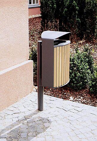 Abfallbehälter LENA mit Ascher, 30 Liter, mit Pfosten zum Aufdübeln, Korpus: Robinienholzbelattung, Stahlteile in RAL 7016 anthrazitgrau