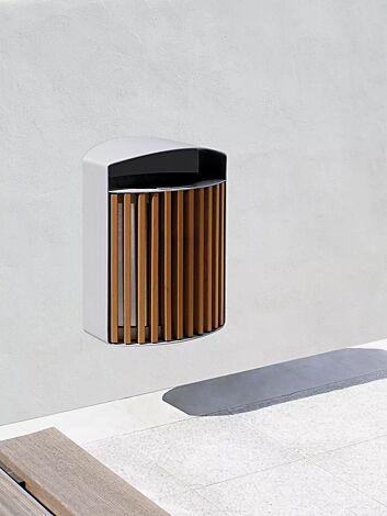 Abfallbehälter LENA mit Ascher, 30 Liter, zur Wandbefestigung, Korpus: Jatobaholzbelattung, Stahlteile in RAL 9006 weißaluminium