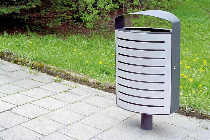 Abfallbehälter LENA mit Ascher, 70 Liter, Korpus: gestanztes Stahlblech, mit Standfuß zum Aufdübeln, in RAL 9006 weißaluminium und RAL 7016 anthrazitgrau