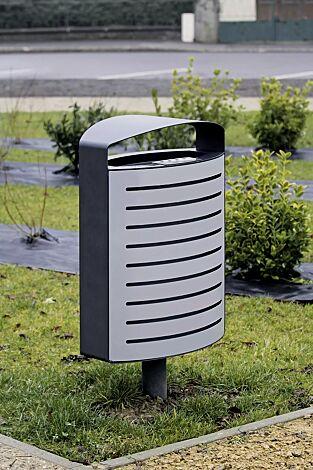 Abfallbehälter LENA mit Ascher, 70 Liter, mit Standfuß zum Aufdübeln, Korpus: gestanztes Stahlblech, in RAL 9006 weißaluminium und RAL 7016 anthrazitgrau