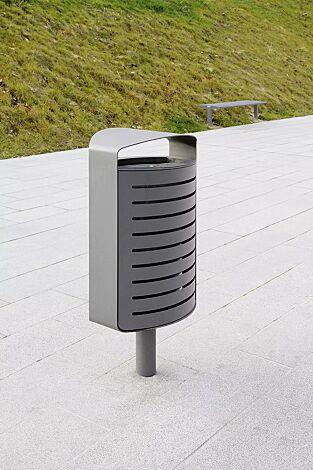 Abfallbehälter LENA mit Ascher, 70 Liter, mit Standfuß zum Aufdübeln, Korpus: gestanztes Stahlblech, in RAL 9006 weißaluminium und RAL 9007 graualuminium