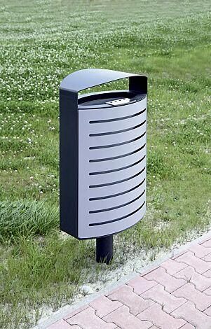 Abfallbehälter LENA mit Ascher, 70 Liter, mit Standfuß zum Aufdübeln, Korpus: gestanztes Stahlblech, in RAL 7016 anthrazitgrau und RAL 9006 weißaluminium