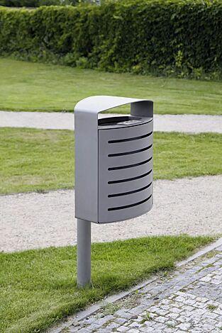 Abfallbehälter LENA mit Ascher, 30 Liter, mit Pfosten zum Aufdübeln, Korpus: gestanztes Stahlblech, in RAL 9007 graualuminium und RAL 9006 weißaluminium