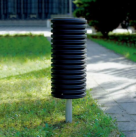 Abfallbehälter CYLINDRE, 35 Liter, mit Pfosten mittig zum Aufdübeln, in RAL 9006 weißaluminium