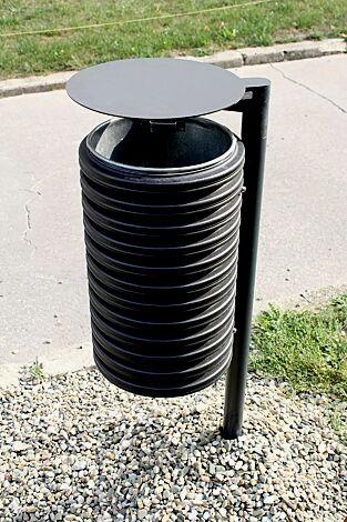 Abfallbehälter CYLINDRE, 25 Liter, mit Schutzdach, mit seitlichen Pfosten zum Aufdübeln, in RAL 9005 tiefschwarz