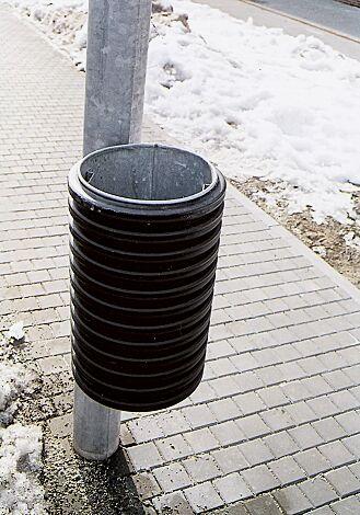 Abfallbehälter CYLINDRE, 25 Liter, zur Pfostenbefestigung